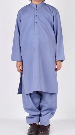 Plain Light Blue Cotton Kid Kurta Pajama BP2638