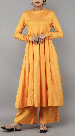 Plain Light Orange Palazzo Anarkali Suit BP1347