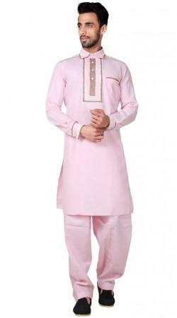Plain Pink Cotton Linen Pathani Kurta Pajama GR154419