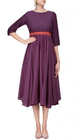 Plain Purple Silk Frock Style Tunic SUUDK23023