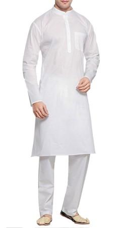 Plain White Cambric Cotton Men Kurta Pajama BP3238
