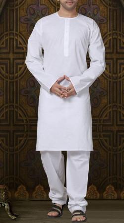 Plain White Cotton Long Sleeves Kurta Pajama RL1190503