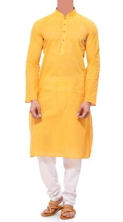 Plain Yellow Cotton Men Kurta Pajama BP0938
