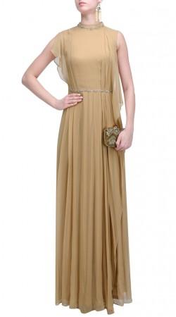 Plus Size Beige Georgette Designer Gown Suit SUMS34824
