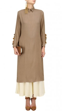 Plus Size Beige Indowestern Salwar Kameez SUMA57228