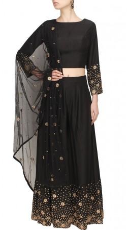 Plus Size Black Silk Designer Crop Top Lehenga For Party SUUDL28027
