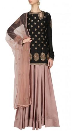 Plus Size Black Silk Designer Long Choli Lehenga SUUDL31131