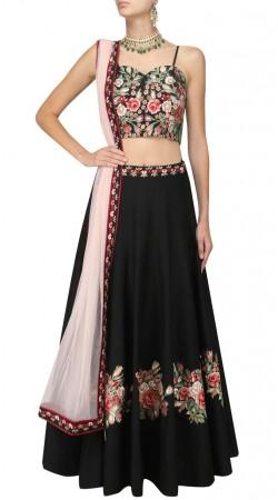 Plus Size Black Silk Floral Work Crop Top Lehenga SUUDL29327