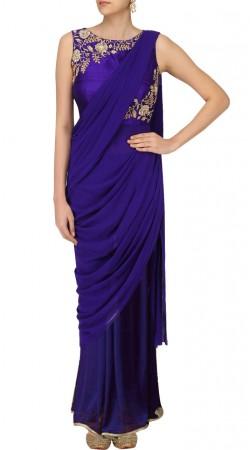 Plus Size Blue Designer Saree Gown For Party SUSGUDL24825