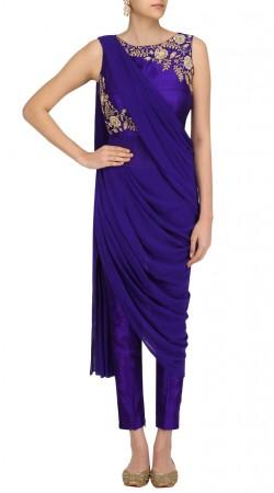 Plus Size Blue Silk And Georgette Designer Salwar Kameez SUUDL24825