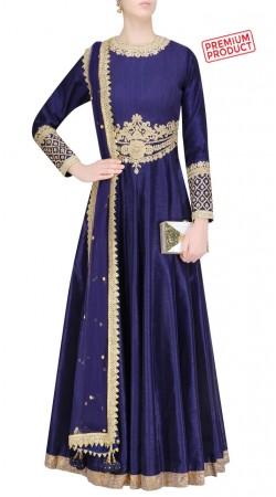 Plus Size Blue Silk Designer Anarkali Suit SUMS31021