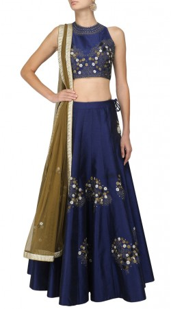 Plus Size Blue Silk Embroidery Work Crop Top Lehenga SUUDL29427