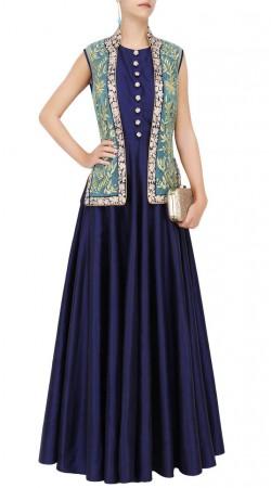 Plus Size Blue Silk Floor Length Anarkali With Jacket SUUDS48529