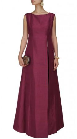 Plus Size Burgundy Silk Side Cut Kameez SUMS35424
