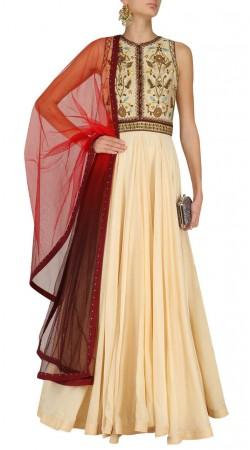 Plus Size Cream Silk Floor Length Anarkali Suit SUUDS45026
