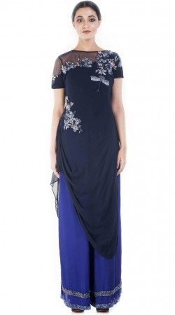 Plus Size Dark Blue Indowestern Salwar Kameez SUUDS52430