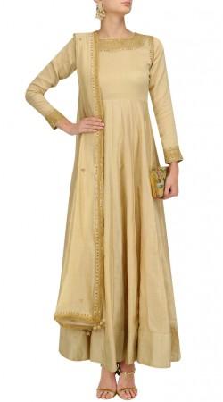 Plus Size Dark Cream Silk Anarkali Salwar Kameez SUUDS49730
