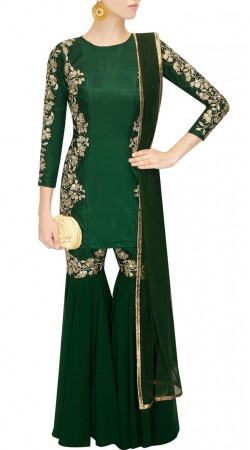 Plus Size Dark Green Sharara For Party SUUDS49229