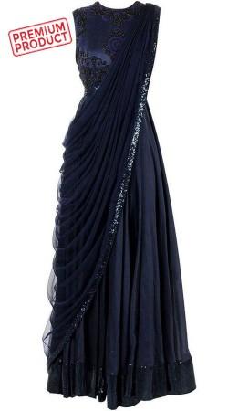 Plus Size Dark Navy Blue Designer Saree Gown BP0446