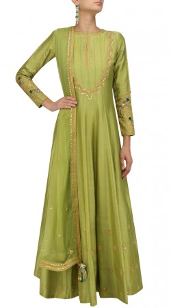 Plus Size Green Silk Floor Length Anarkali Suit SUUDS49830