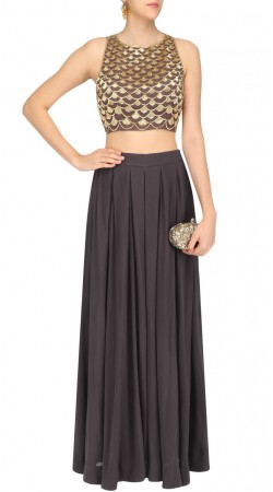 Plus Size Grey Georgette Indowestern Dress SUUDL24625