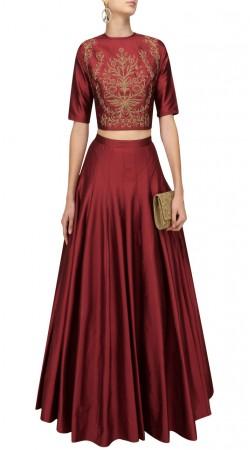 Plus Size Indian Red Silk Crop Top Lehenga SUUDL29127