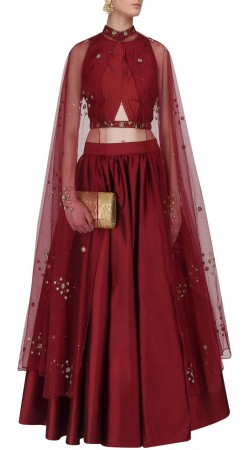 Plus Size Indian Red Silk Crop Top Lehenga With Stylish Cape SUUDL29027