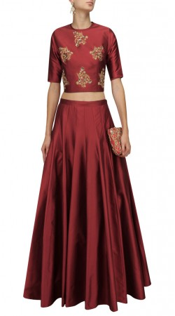 Plus Size Indian Red Silk Designer Crop Top Lehenga SUUDL28927