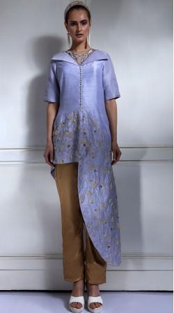 Plus Size Lavender Blue Silk Indowestern Dress SUMA56228