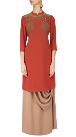 Plus Size Light Red Silk Indo Western Salwar Kameez SUMA55428
