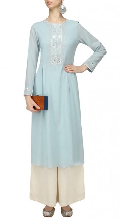 Plus Size Light Sky Blue Silk Palazzo Suit With Dupatta SUMA56728