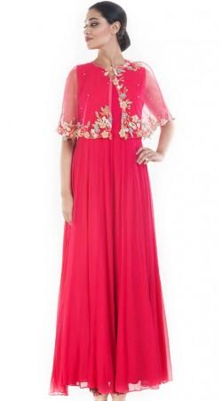 Plus Size Magenta Anarkali Suit With Stylish Cape SUUDS52930