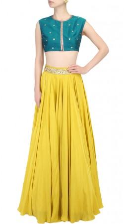 Plus Size Mustard Yellow Silk Designer Crop Top Lehenga SUUDL27727