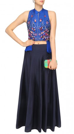 Plus Size Navy Blue Silk Plain Skirt With Front Zip Choli SUUDL29527
