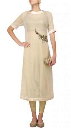Plus Size Off White Georgette Dhoti Pant Suit SUMA54928