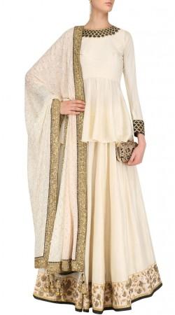 Plus Size Off White Silk Peplum Choli With Lehenga SUUDL29831