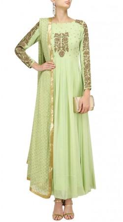 Plus Size Pastel Green Anarkali Salwar Kameez SUUDS47429