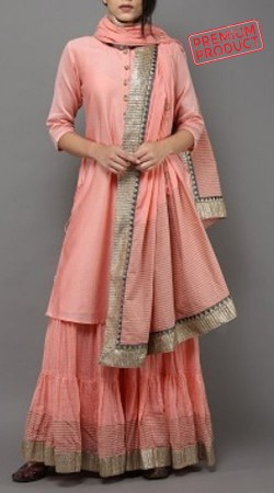 Plus Size Peach Sharara Suit With Dupatta BP0145