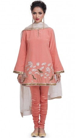 Plus Size Peach Silk Salwar Kameez With Embroidery Work SUMS34524