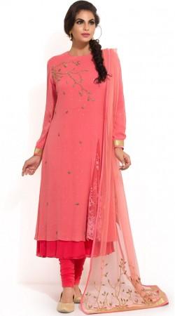 Plus Size Pink Anarkali Salwar Kameez SUMS34024
