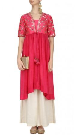 Plus Size Pink Silk Indo Western Salwar Kameez SUMA55328