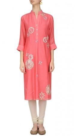 Plus Size Pink Silk Knee Length Kameez With Churidar SUMA55028