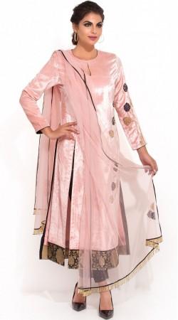 Plus Size Pink Velvet Cigarette Pant With Kameez SUMA56028