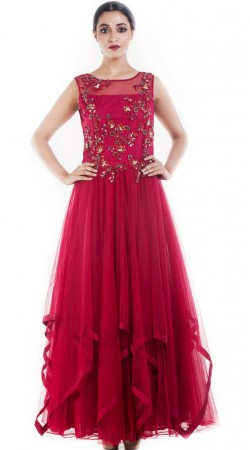 Plus Size Pinkish Red Net Designer Gown Suit SUUDS51330