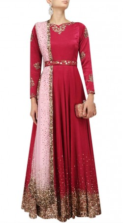 Plus Size Pinkish Red Silk Salwar Kameez For Party SUUDS48329