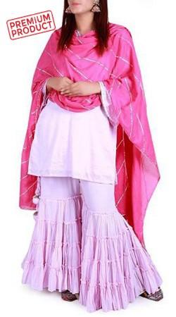 Plus Size Plain Lilac Pink Cotton Sharara Set BP0345