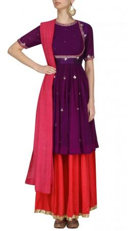 Plus Size Purple Silk Anarkali Salwar Kameez SUUDS44726