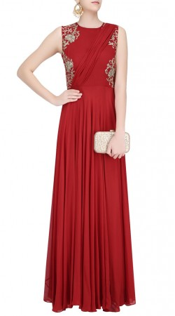 Plus Size Red Embroidery Work Gown Style Suit SUUDS45426
