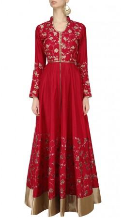 Plus Size Red Silk Anarkali Salwar Kameez SUUDS45226