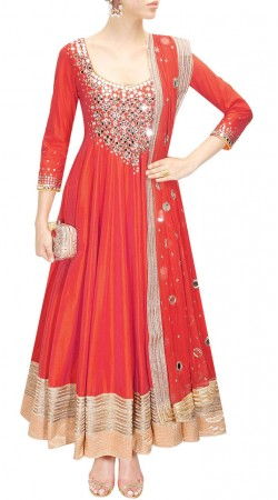 Plus Size Red Silk Ankle Length Anarkali Suit SUUDS49530